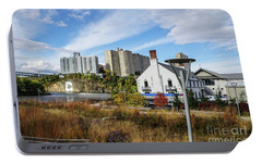 Portable Battery Charger featuring the photograph Columbia Boathouse And C Rock by Cole Thompson
