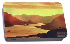 Portable Battery Charger featuring the painting Columbia Gorge Scenery by Ryan Fox
