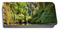 Columbia Gorge Waterfall In Summer Portable Battery Charger