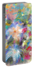 Portable Battery Charger featuring the painting Columbine In The Wildflowers by Frances Marino