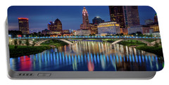 Portable Battery Charger featuring the photograph Columbus Ohio Skyline At Night by Adam Romanowicz