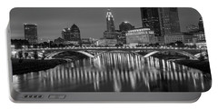 Portable Battery Charger featuring the photograph Columbus Ohio Skyline At Night Black And White by Adam Romanowicz