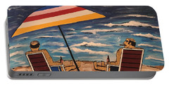 Portable Battery Charger featuring the painting Comb Over Brothers by Jeffrey Koss