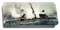 Combat Between The Monitor And The Merrimac During The Civil War Portable Battery Charger