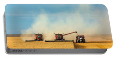 Portable Battery Charger featuring the photograph Combines And Tractor Working Together by Todd Klassy