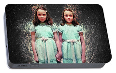 Come Play With Us - The Shining Twins Portable Battery Charger by Taylan Apukovska
