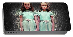 Portable Battery Charger featuring the digital art Come Play With Us - The Shining Twins by Taylan Apukovska