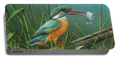 Portable Battery Charger featuring the painting Common Kingfisher by Mike Brown