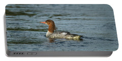 Common Merganser 9817 Portable Battery Charger by Michael Peychich