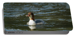 Common Merganser 9821 Portable Battery Charger by Michael Peychich