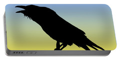 Common Raven Silhouette At Sunrise Portable Battery Charger