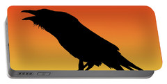 Common Raven Silhouette At Sunset Portable Battery Charger