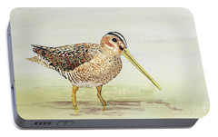 Portable Battery Charger featuring the painting Common Snipe Wading by Thom Glace
