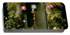 Communion Cup And Host Encircled With A Garland Of Fruit Portable Battery Charger
