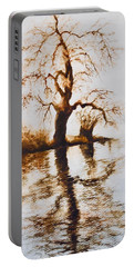 Portable Battery Charger featuring the painting Como Lake Reflections by Sher Nasser