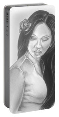 Long Hair Asian Lady With Rose In Sorrow Charcoal Drawing  Portable Battery Charger