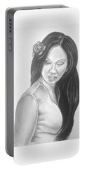 Female In Sorrow Charcoal Drawing  Portable Battery Charger