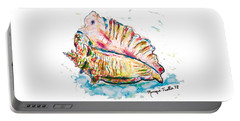 Portable Battery Charger featuring the painting Conch Shell by Monique Faella