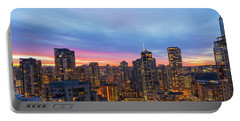 Condominium Buildings In Downtown Vancouver Bc At Sunrise Portable Battery Charger