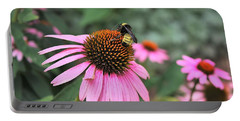 Portable Battery Charger featuring the photograph Cone Flowers And Bee by Sheila Brown