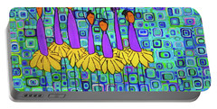 Portable Battery Charger featuring the painting Coneflower Ballet by Donna Howard