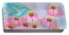 Coneflower Hummingbird Watercolor Portable Battery Charger