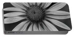Coneflower In Black And White Portable Battery Charger