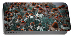 Coneflowers Bits Of Torquise Portable Battery Charger