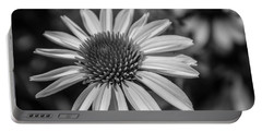 Portable Battery Charger featuring the photograph Conehead Daisy In Black And White by Arlene Carmel