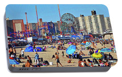 Portable Battery Charger featuring the photograph Coney Island Beach by Joan Reese