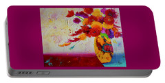Portable Battery Charger featuring the painting Confetti by Nancy Jolley