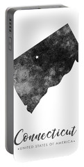 Connecticut State Map Art - Grunge Silhouette Portable Battery Charger