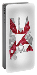 Portable Battery Charger featuring the painting Alabama Typographic Map Flag by Inspirowl Design