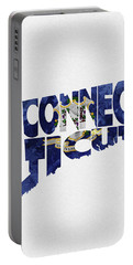 Connecticut Typographic Map Flag Portable Battery Charger