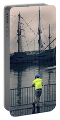 Portable Battery Charger featuring the photograph Construction Break On Boston Harbor by Joann Vitali
