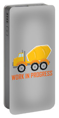 Construction Zone - Concrete Truck Work In Progress Gifts - Grey Background Portable Battery Charger
