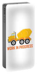Construction Zone - Concrete Truck Work In Progress Gifts - White Background Portable Battery Charger