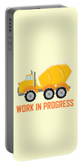 Construction Zone - Concrete Truck Work In Progress Gifts - Yellow Background Portable Battery Charger