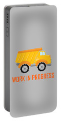 Construction Zone - Dump Truck Work In Progress Gifts - Grey Background Portable Battery Charger