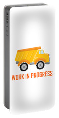 Construction Zone - Dump Truck Work In Progress Gifts - White Background Portable Battery Charger