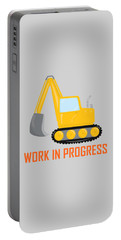 Construction Zone - Excavator Work In Progress Gifts - Grey Background Portable Battery Charger