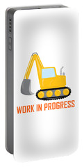 Construction Zone - Excavator Work In Progress Gifts - White Background Portable Battery Charger