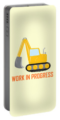 Construction Zone - Excavator Work In Progress Gifts - Yellow Background Portable Battery Charger