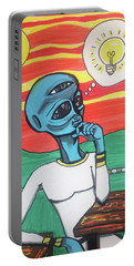 Contemplative Alien Portable Battery Charger by Similar Alien