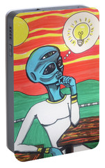 Portable Battery Charger featuring the painting Contemplative Alien by Similar Alien