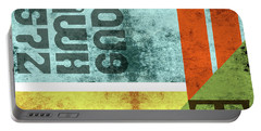 Contemporary Abstract Industrial Art - Distressed Metal - Blue, Green, Yellow Portable Battery Charger