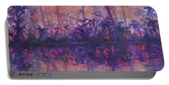 Contemporary Nature Painting Tropical Lake Sunset Portable Battery Charger