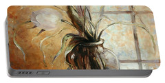 Contre Jour. White Tulip In A Vase.oil Painting On Canvas Portable Battery Charger