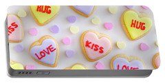 Portable Battery Charger featuring the photograph Conversation Heart Cookie Love by Teri Virbickis