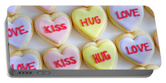 Portable Battery Charger featuring the photograph Conversation Heart Decorated Cookies by Teri Virbickis